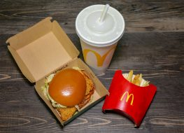 mcdonalds chicken sandwich with fries and drink