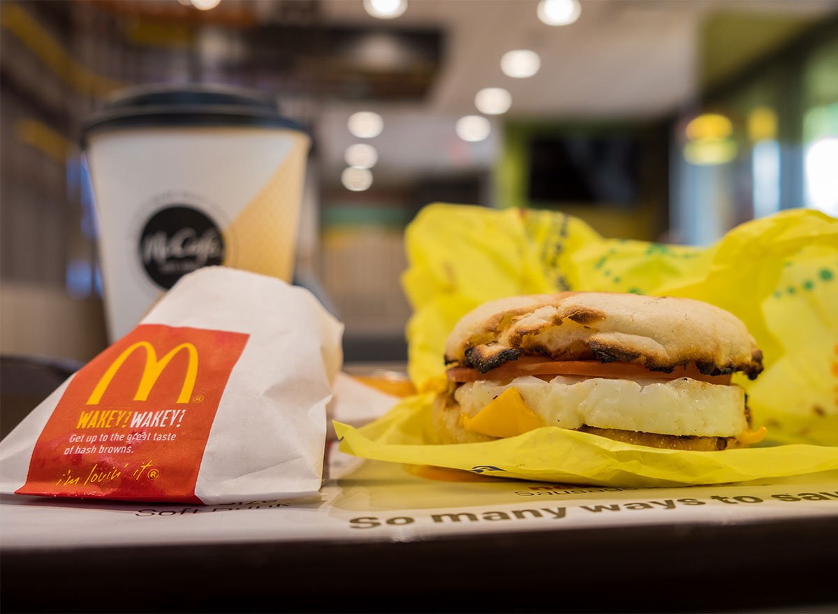 mcdonalds egg mcmuffin and hash brown on tray