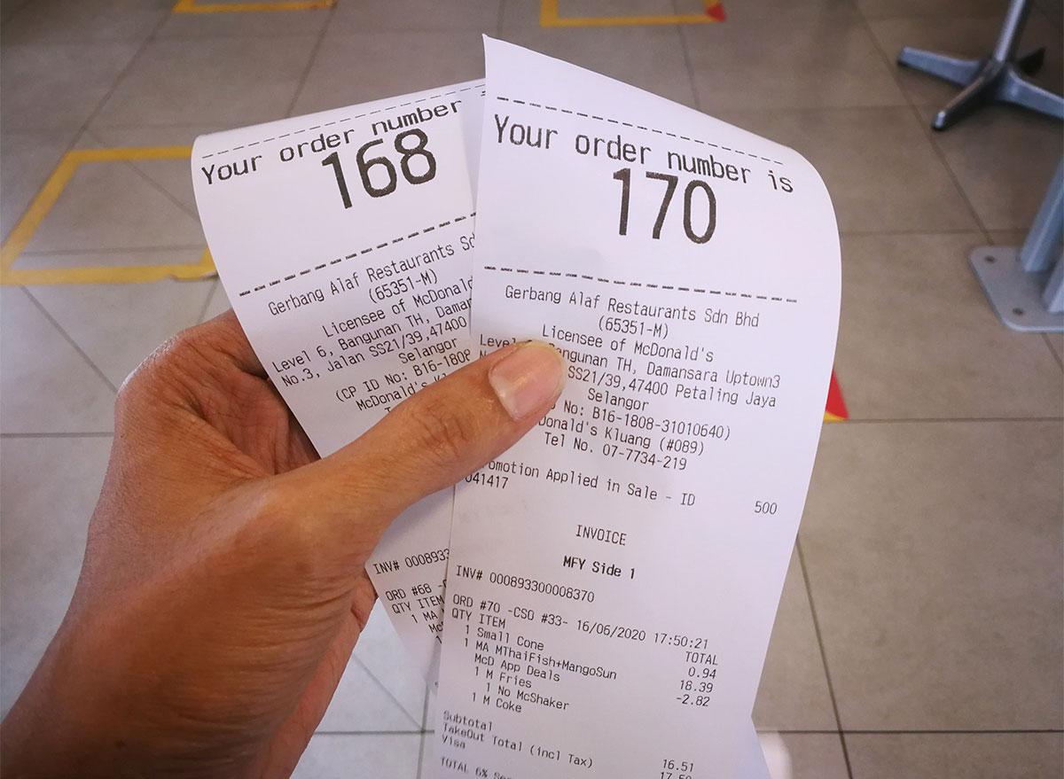 mcdonalds receipts