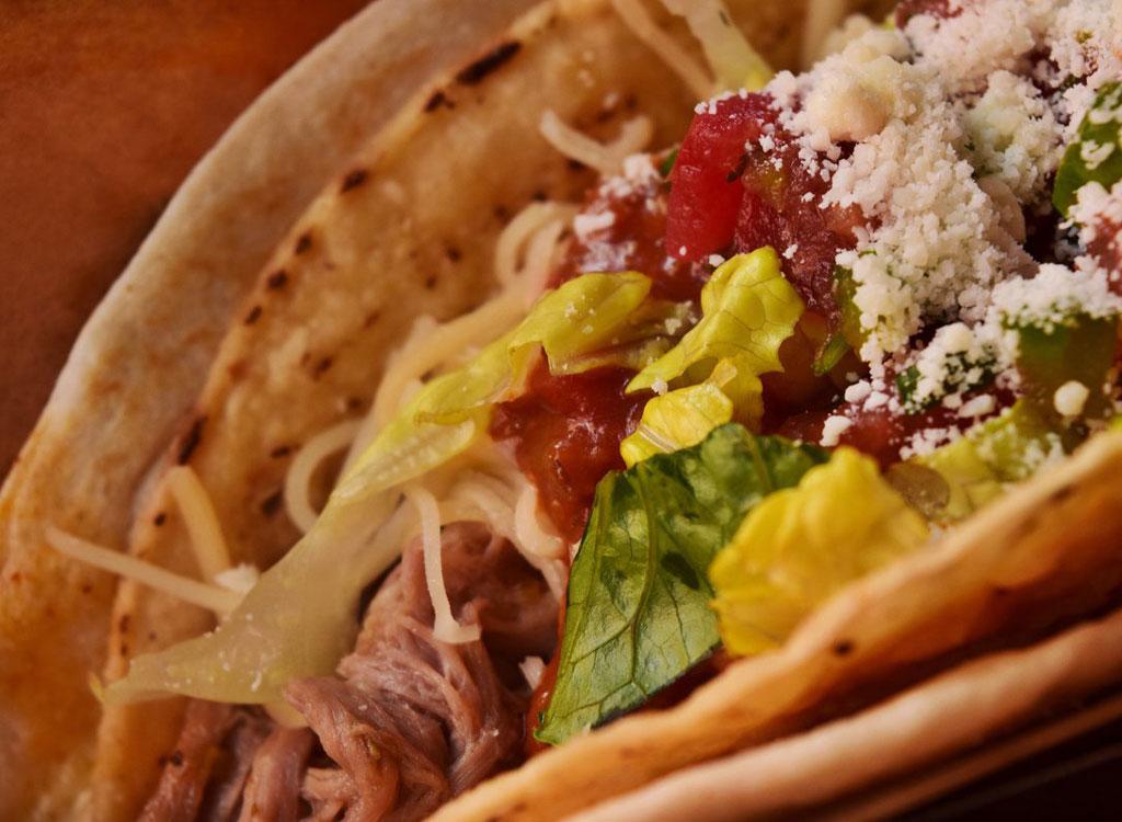 Qdoba shredded beef taco