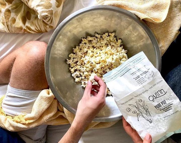 Quinn popcorn in bed