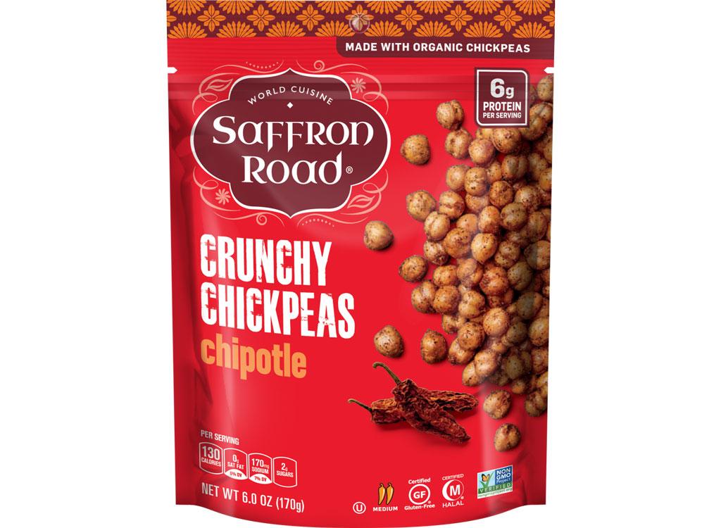 Saffron road crunchy chickpeas chipotle - best high protein snacks