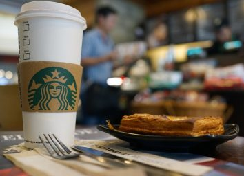 Starbucks coffee and pastry