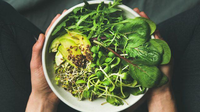 Leafy greens spinach arugula avocado