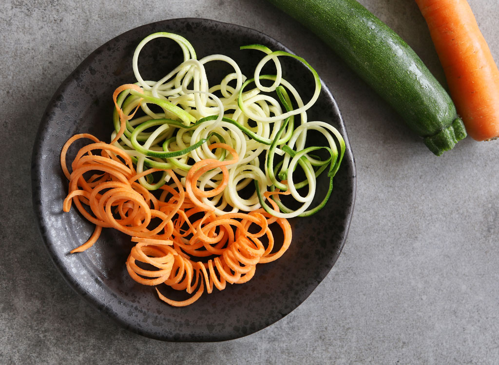 Spiralized zucchini carrots