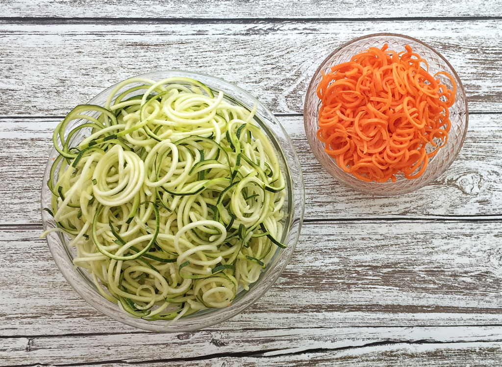 Spiralized zucchini noodles carrots zoodles