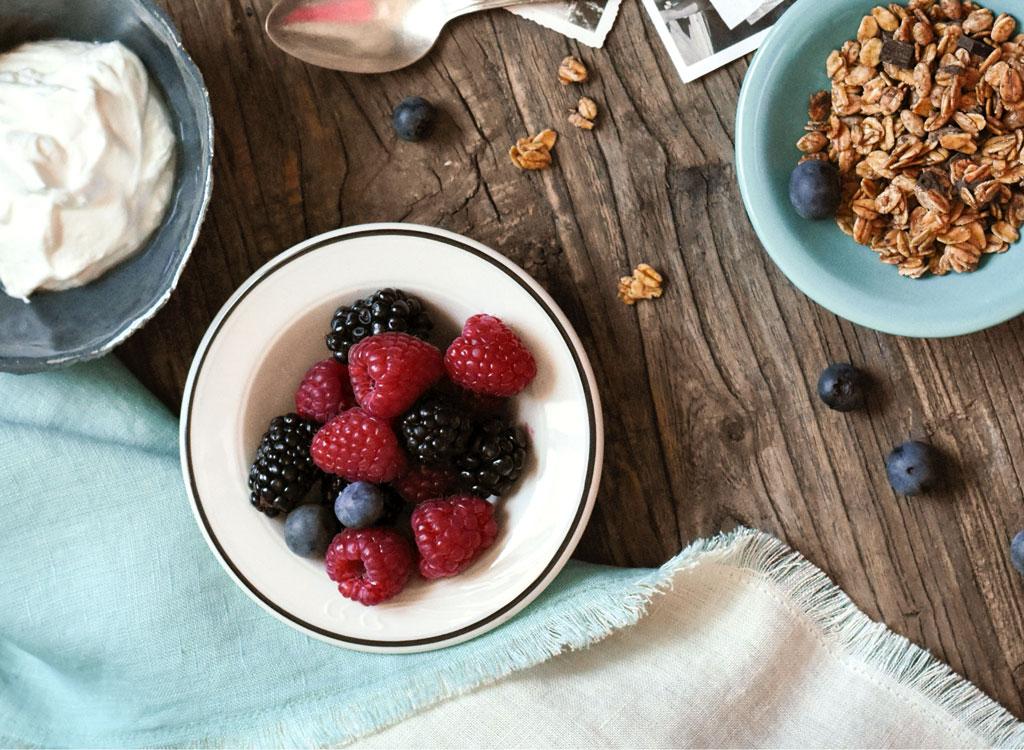 Yogurt berries granola bowl