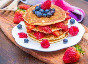 Blueberry strawberry pancakes