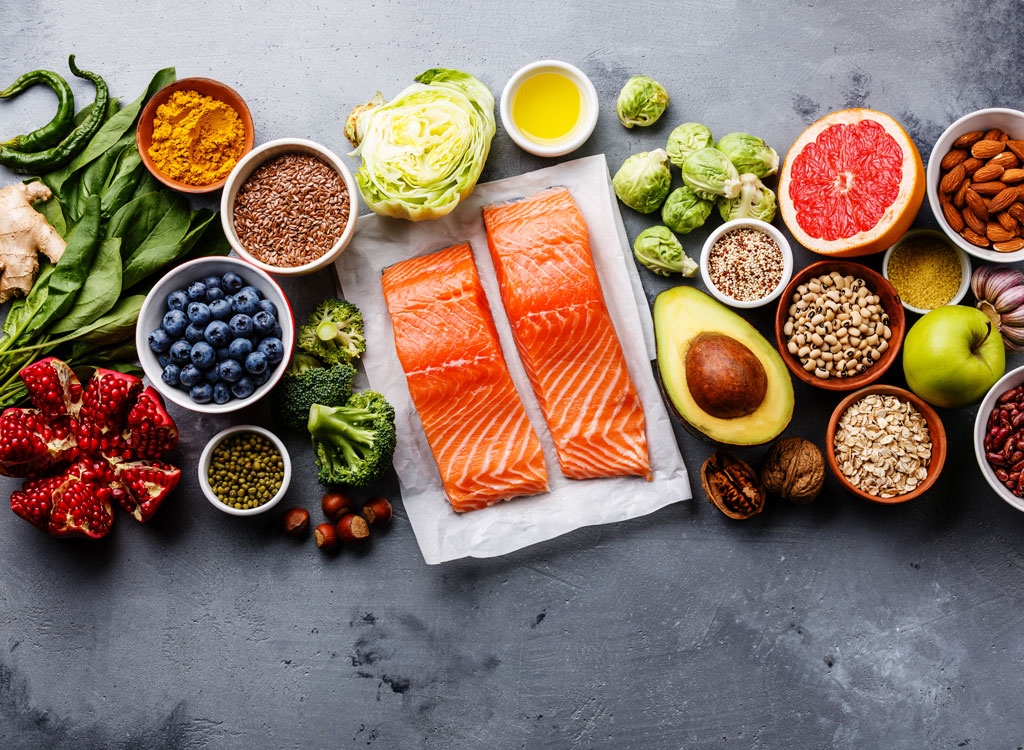 health food buzz words salmon blueberries avocado superfoods