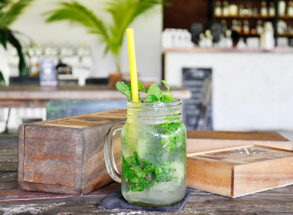 Mint leaves in drink