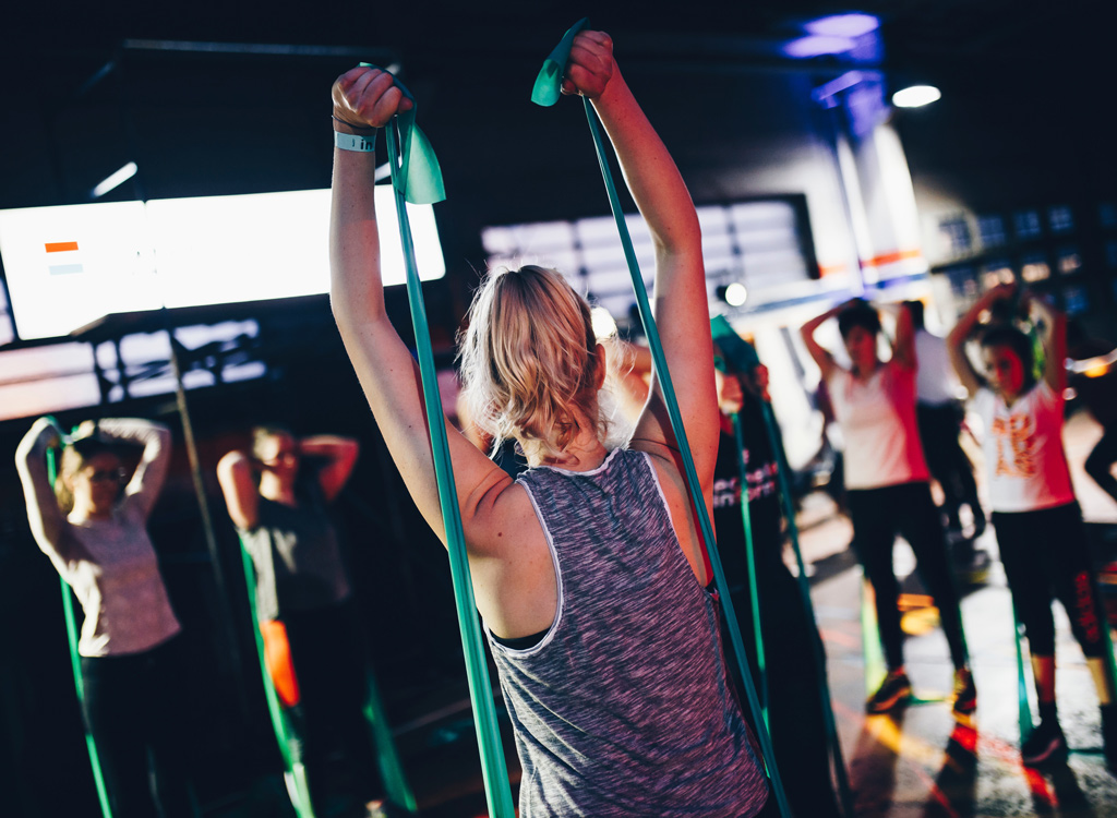 Working out with resistance bands