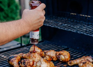 Barbecue sauce on grill
