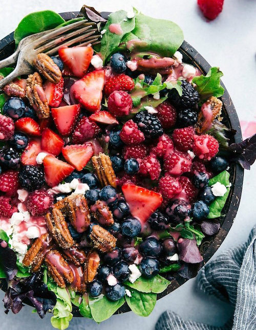 Berry salad with berry vinaigrette