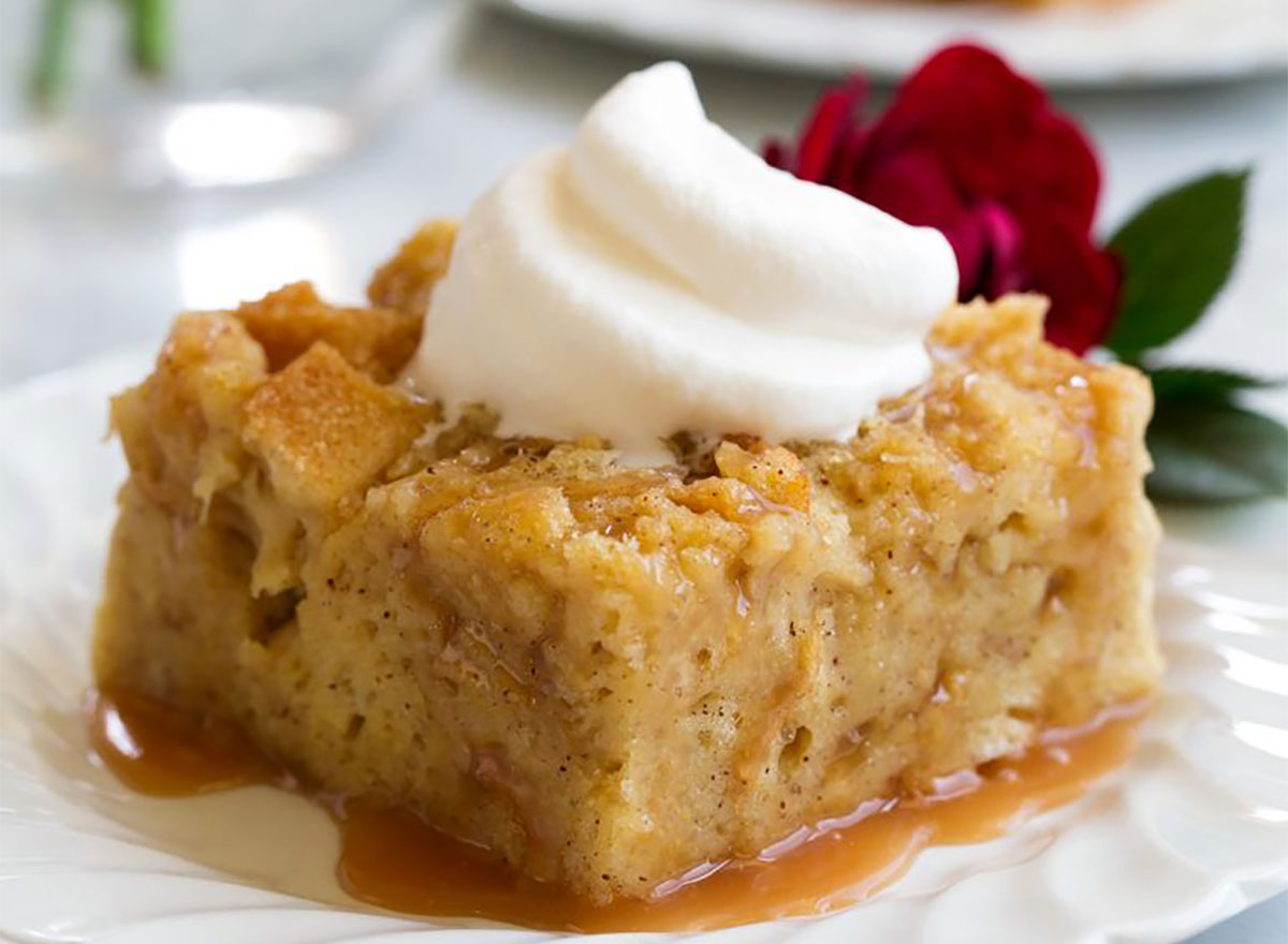 bread pudding with whipped topping