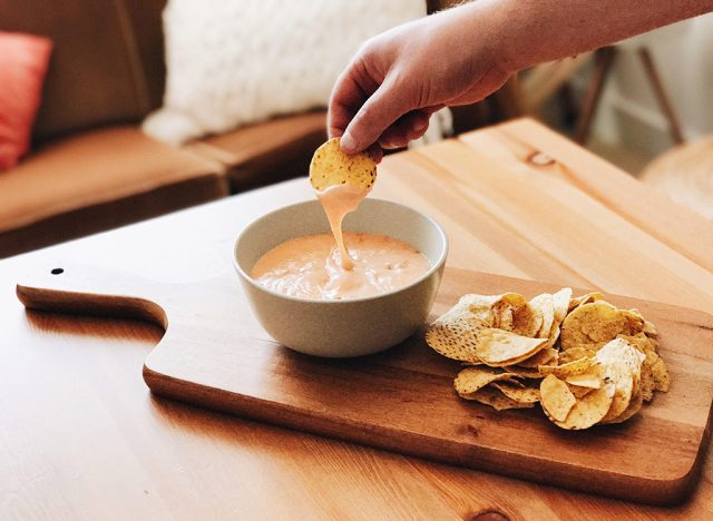 Cheese dip and tortilla chips