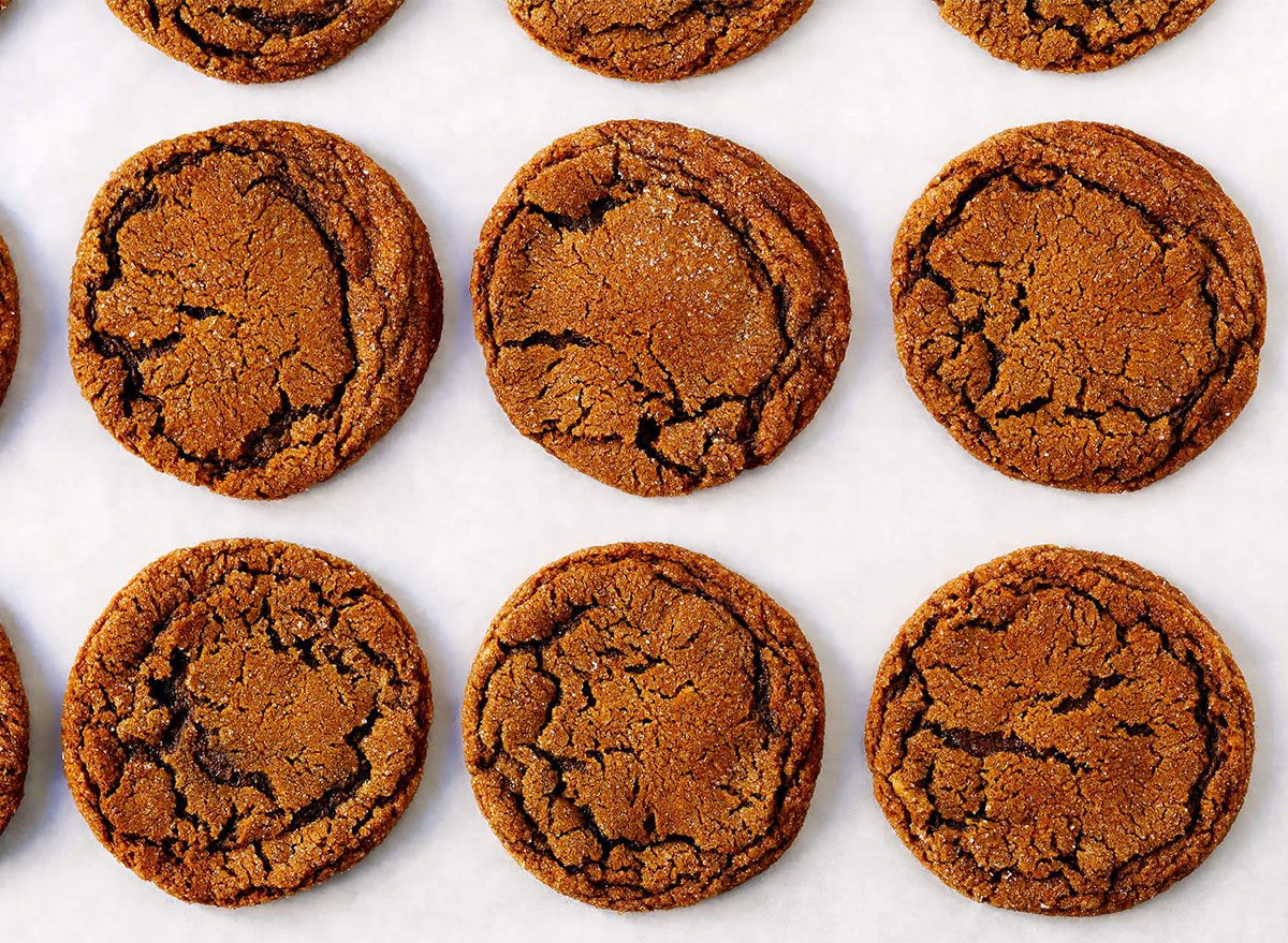 ginger molasses cookies on baking tray
