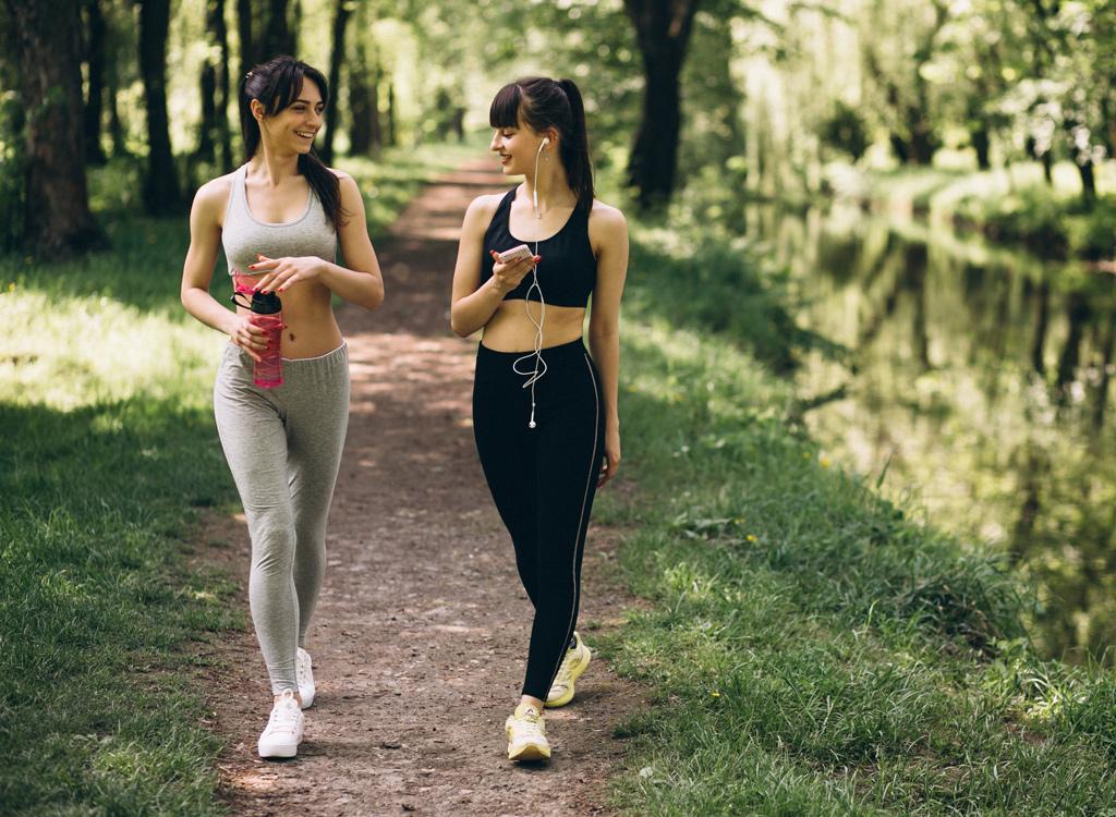 Girls walking in park