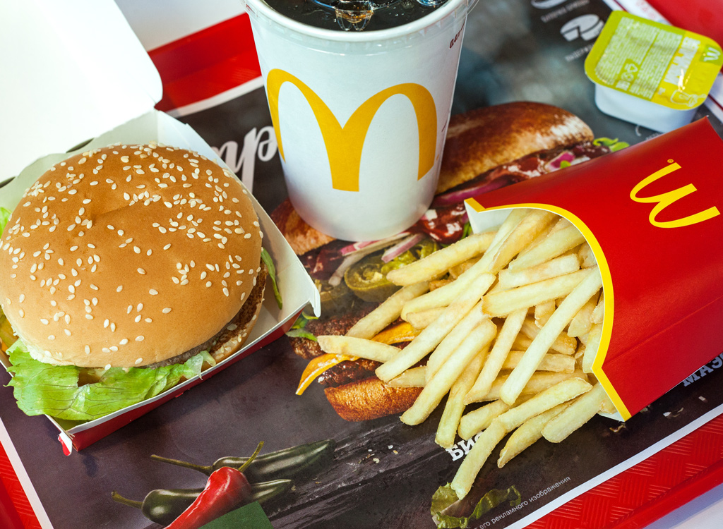 Mcdonalds burger fries and soda