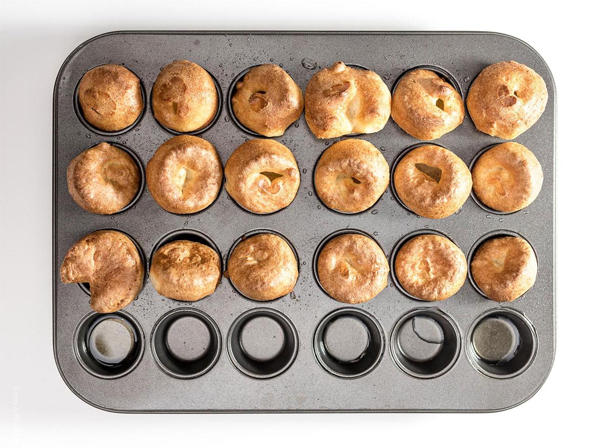 mini yorkshire puddings in muffin tin