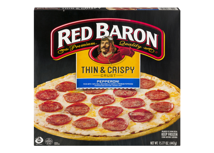 Red baron thin and crispy pepperoni pizza