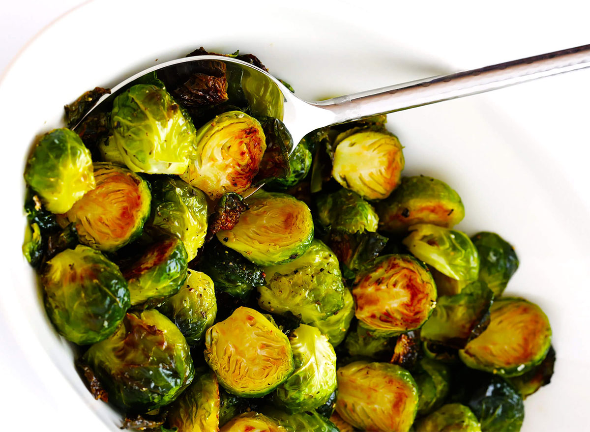 roasted brussels sprouts in serving dish