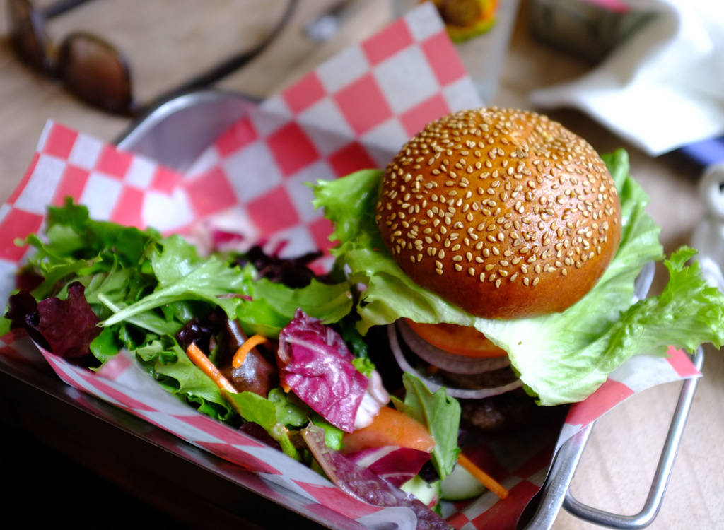Burger and side salad