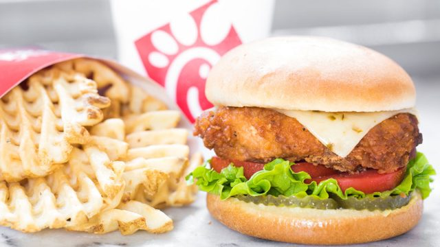 Chick fil a spicy deluxe sandwich fries soda