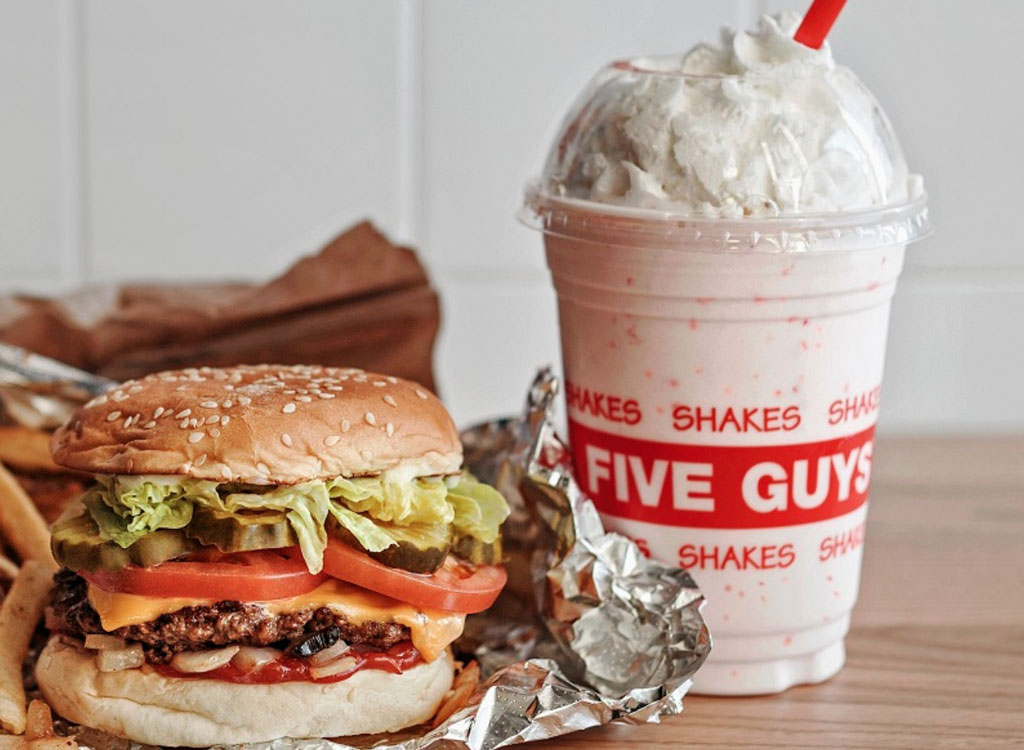 Five guys burger fries milkshake