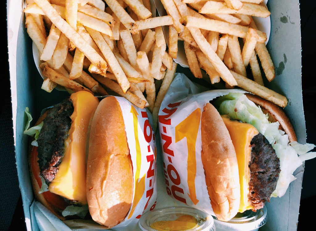 In N Out burger and fries