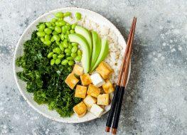 Kale edamame tofu rice