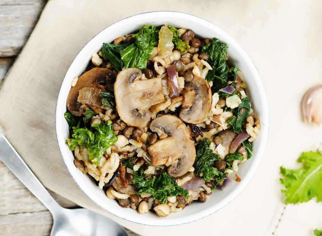 Mushroom rice kale bowl