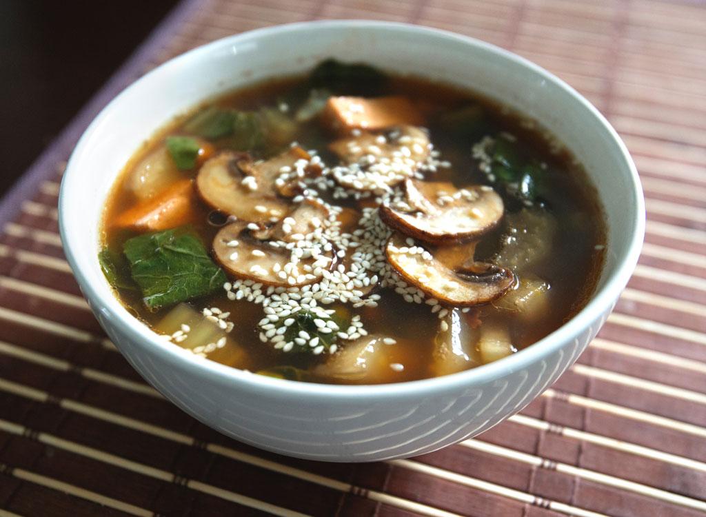 Mushroom tofu bok choy miso soup