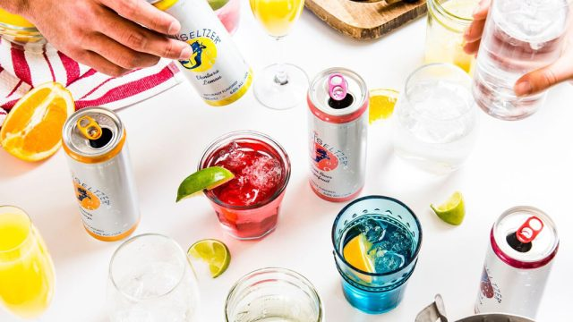 SpikedSeltzer cans on table