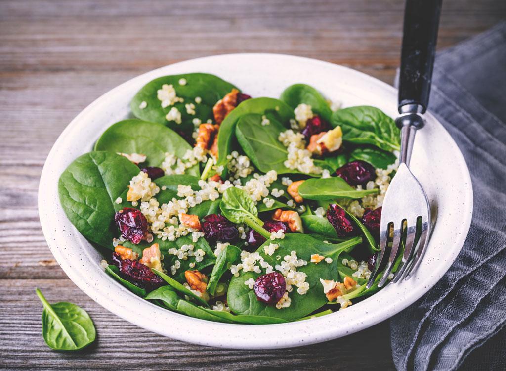 Spinach walnut quinoa craisin salad