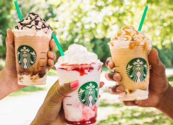 Starbucks triple mocha ultra caramel and serious strawberry frappuccinos