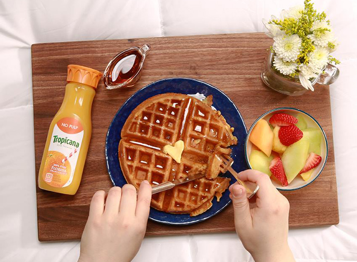 Tropicana orange juice and waffles