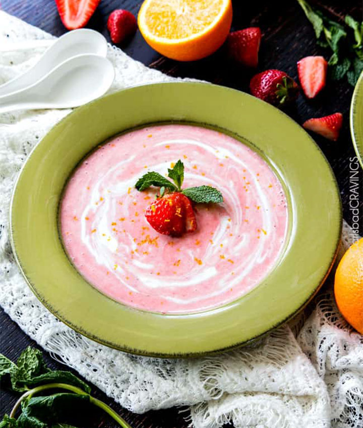 5 minute chilled strawberry coconut soup recipe