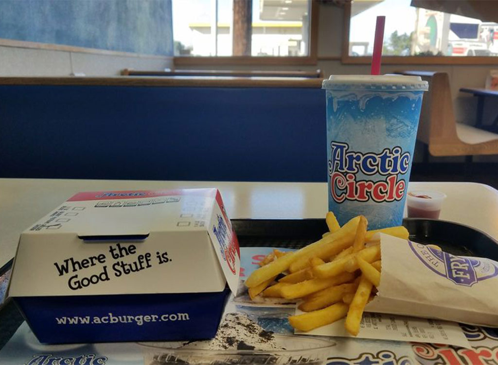 Arctic circle burger fries drink on tray in restaurant
