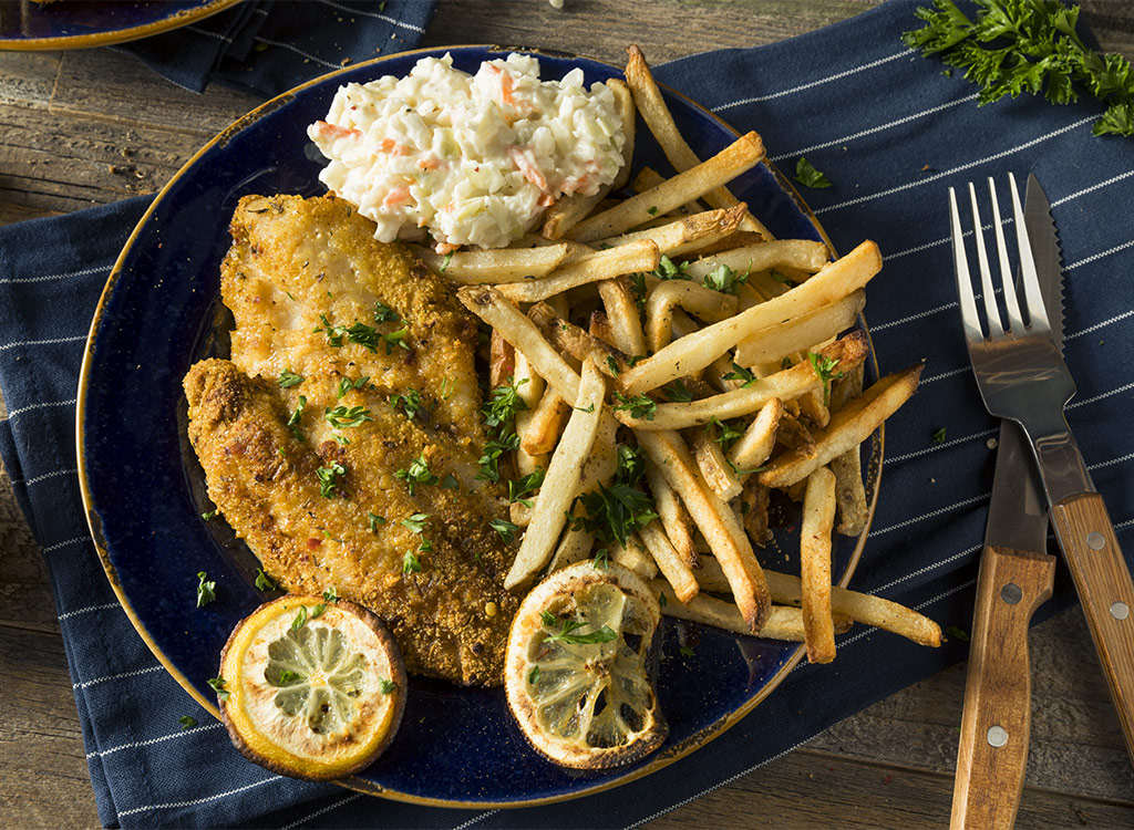 fried catfish with fries and coleslaw on plate