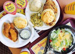 Bojangles chicken biscuits salad on tray