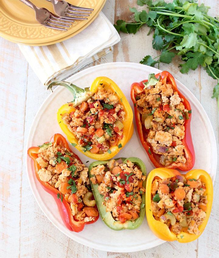 Buffalo chicken stuffed peppers recipe blogger