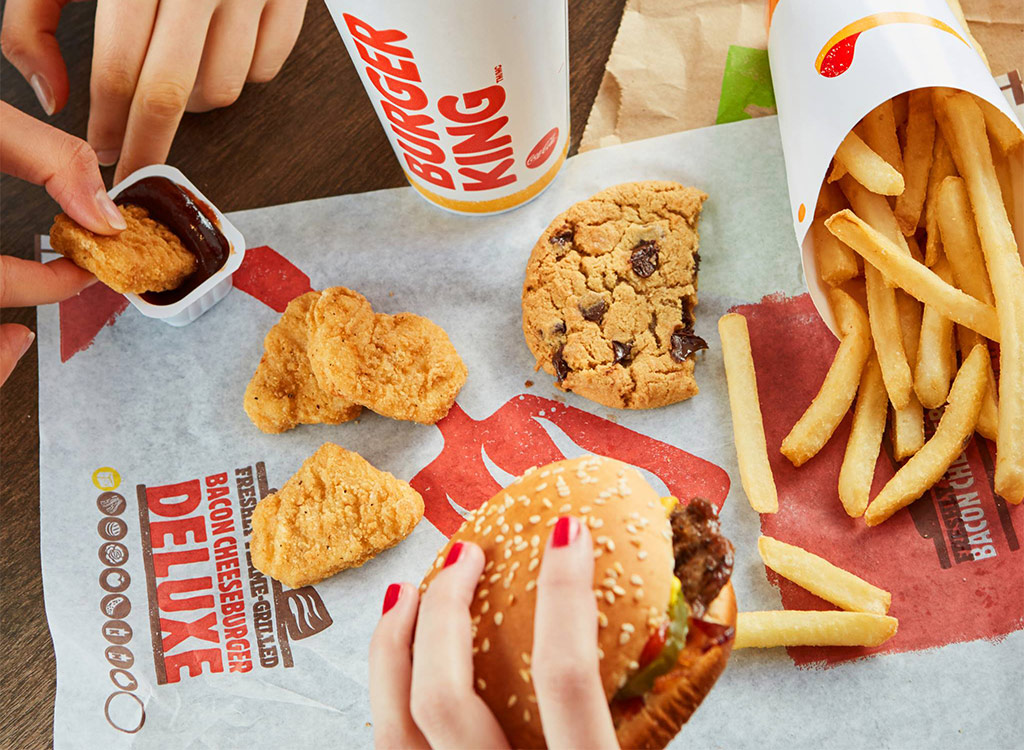 Burger king burger chicken nuggets fries and cookie