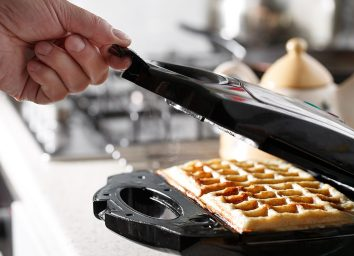 Cheese in waffle iron
