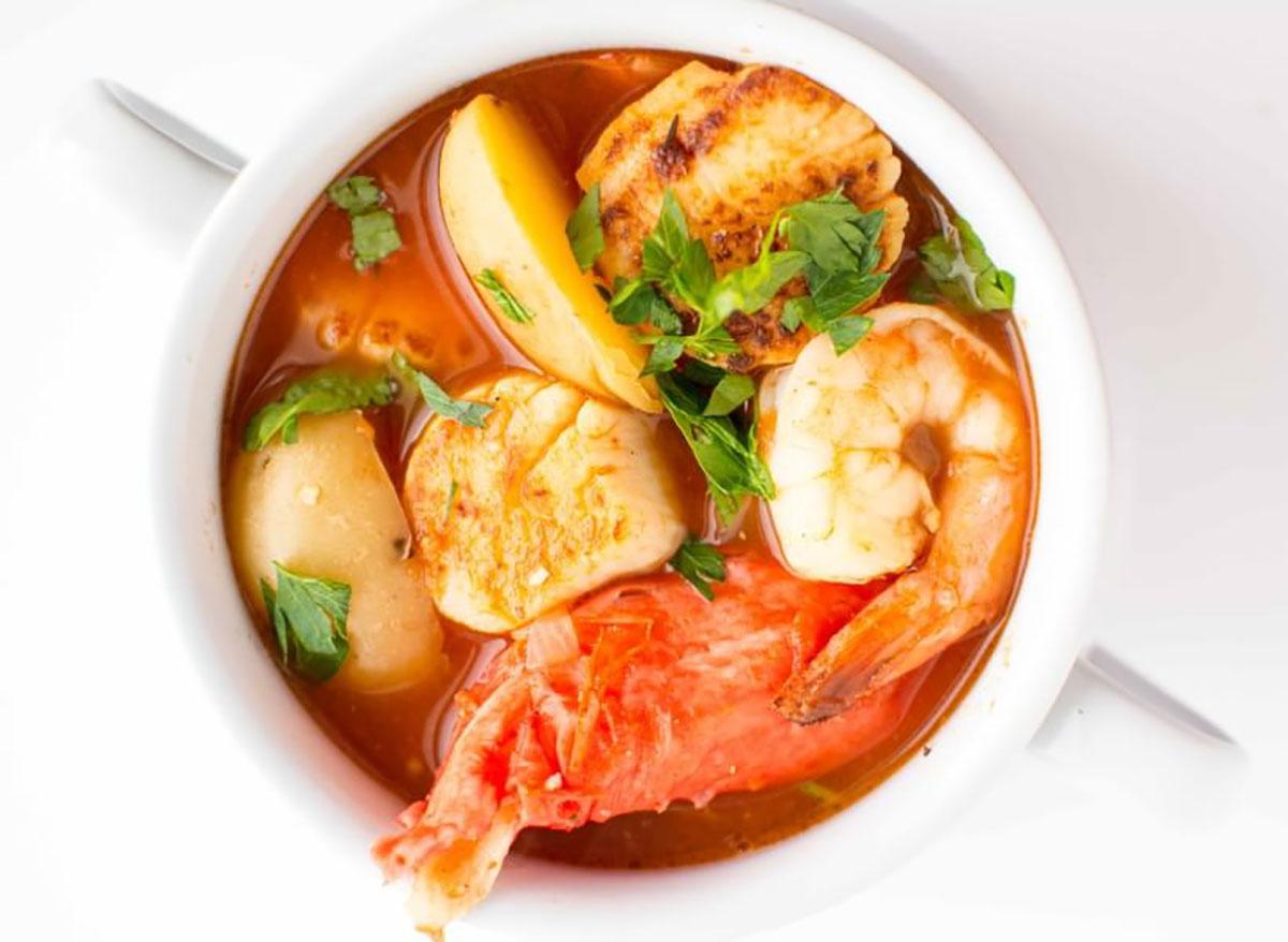 crockpot seafood stew in a bowl
