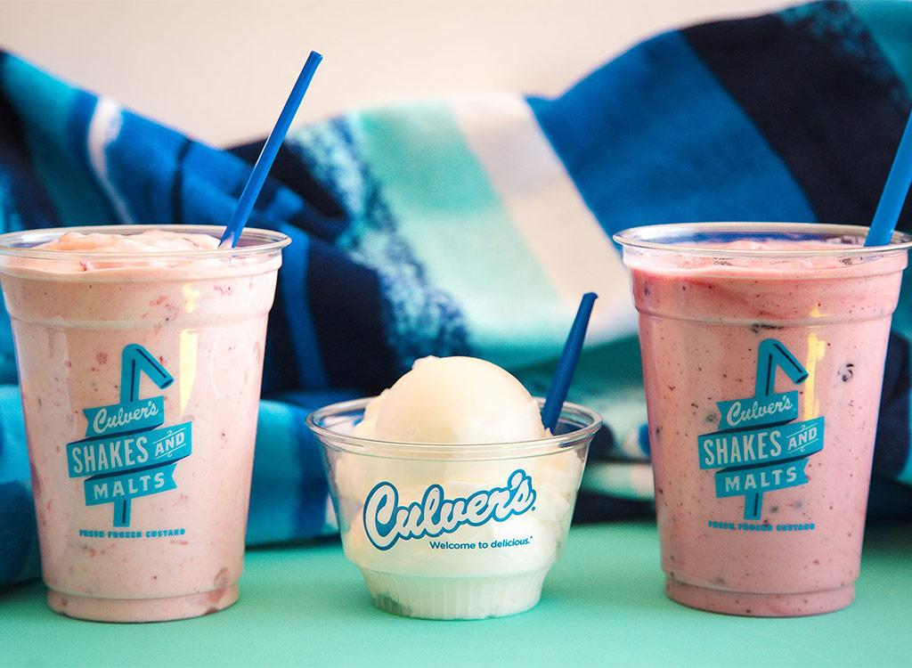 Culvers two milkshakes ice cream in middle