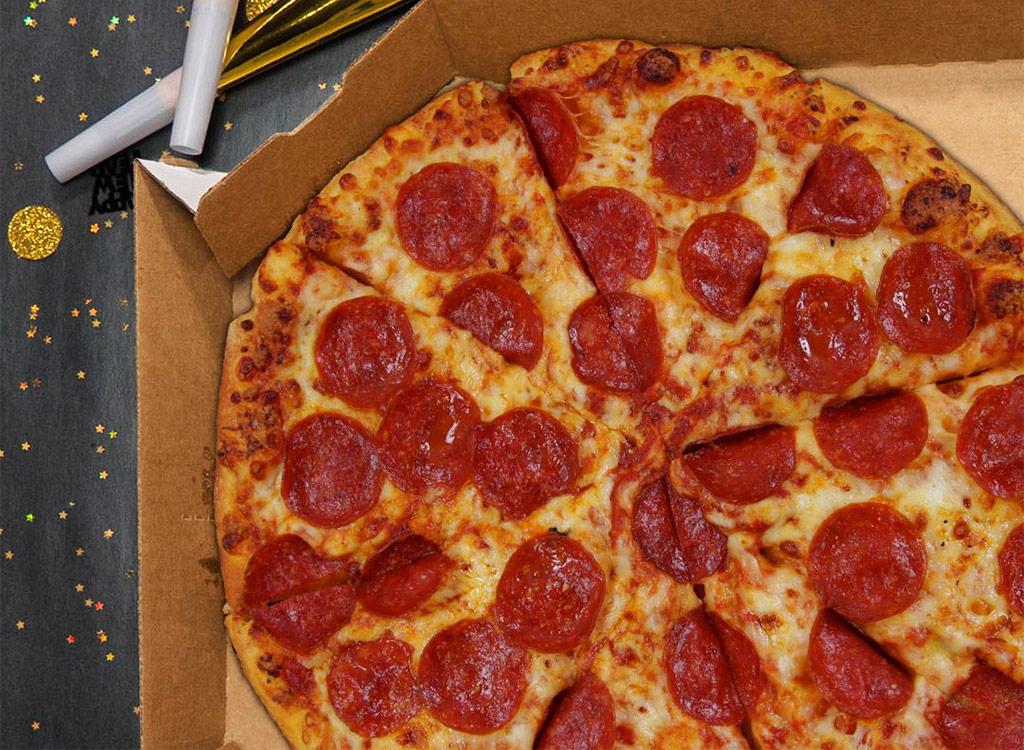 dominos pepperoni pizza in deliver box