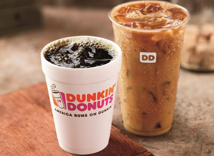 Dunkin Donuts hot and iced coffee