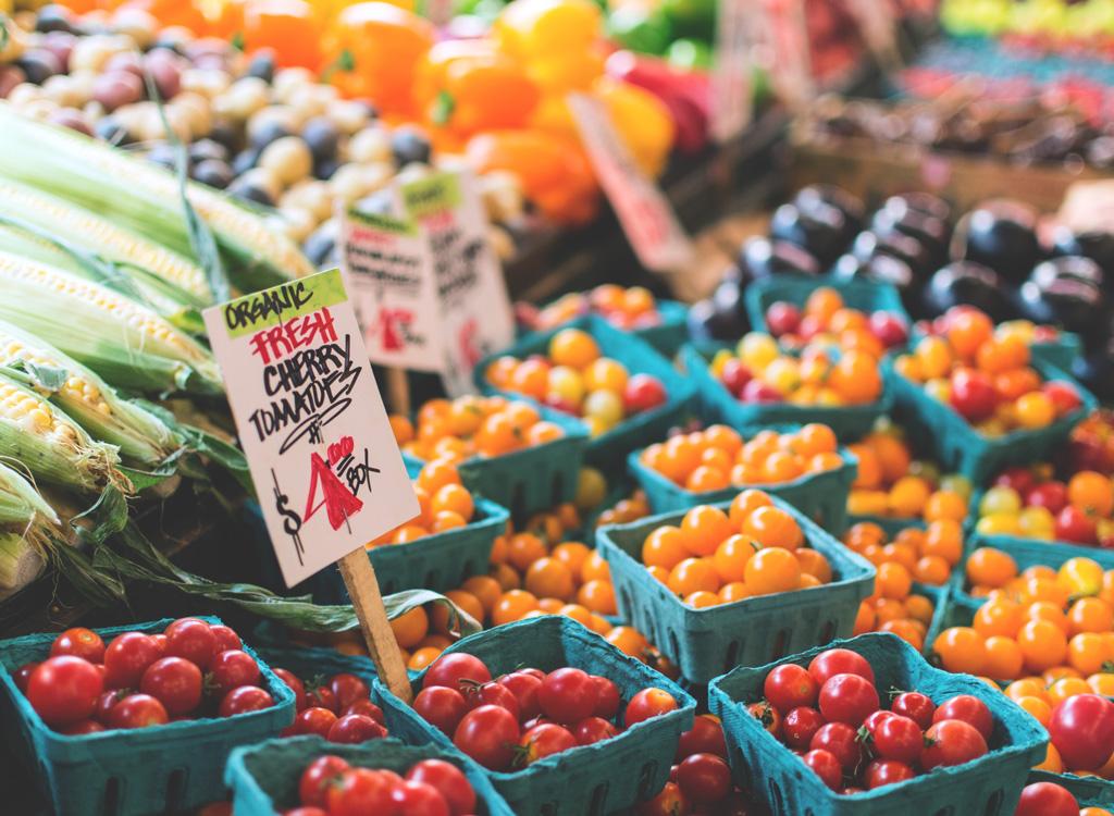 Farmers market organic cherry tomatoes