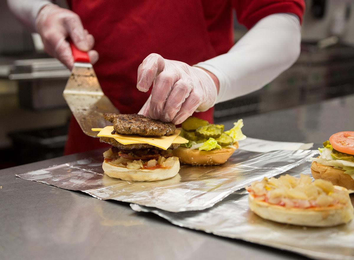 five guys burger being assembled