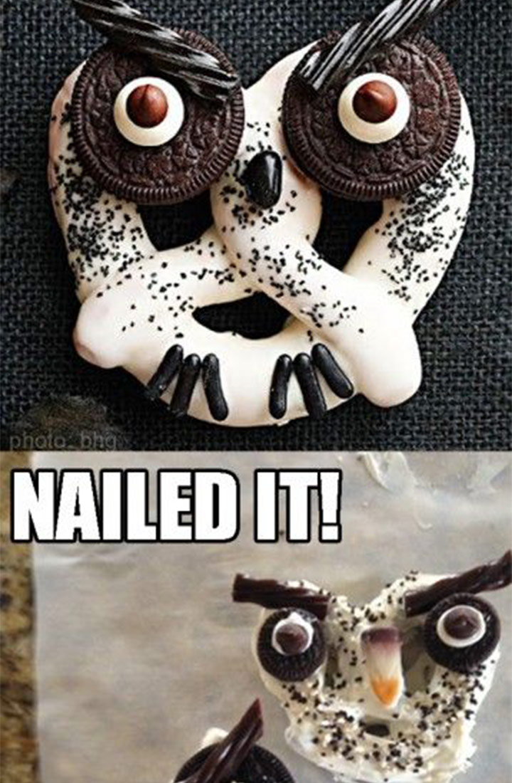 Food fail owl pretzel